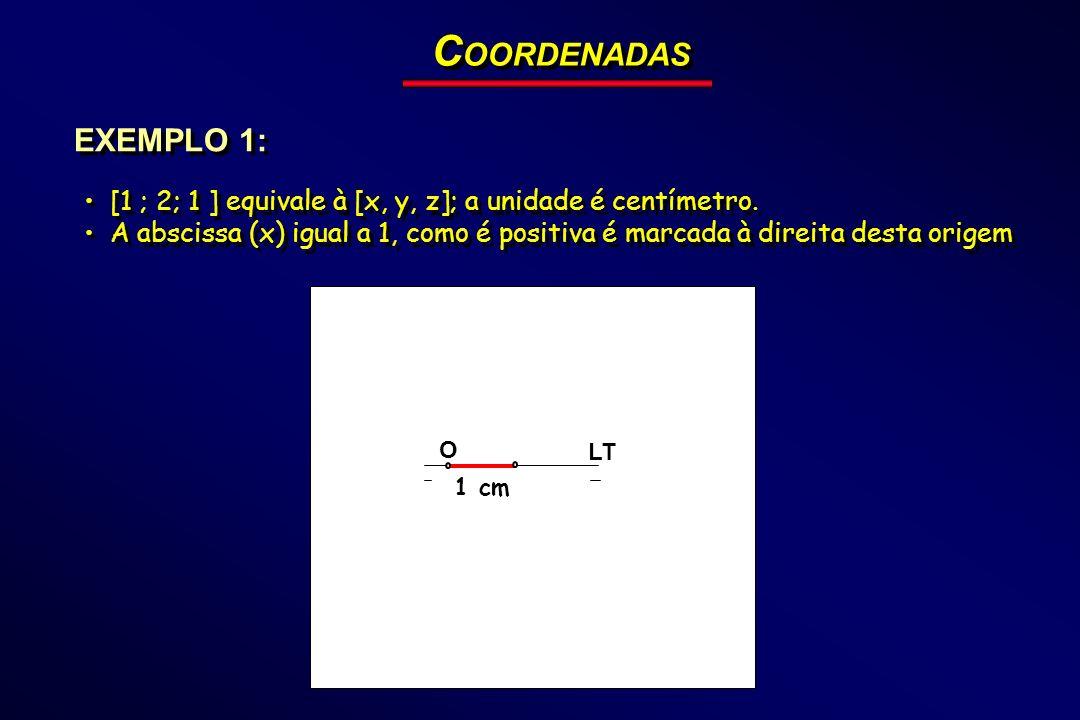 COORDENADAS EXEMPLO 1: [1 ; 2; 1 ] equivale à [x, y, z]; a unidade é centímetro.